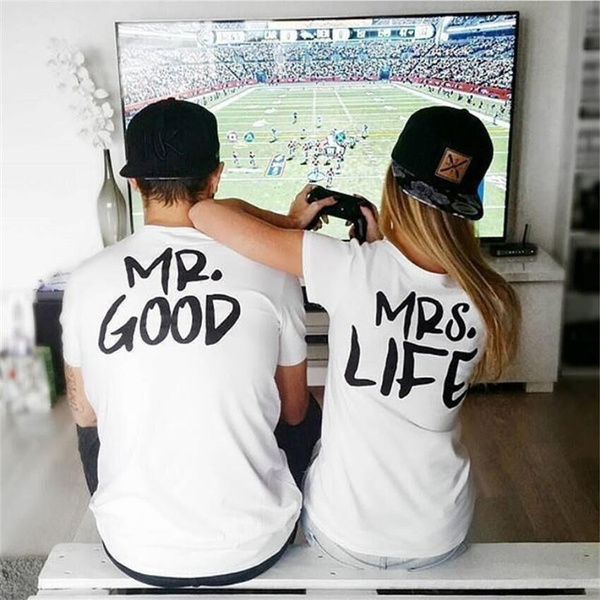 Picture of Fashion Couples T-shirt Mr. Mrs. Good Life Print T-shirt