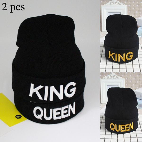 0c0efa9ac 2pcs Fashion Men Women Unisex Embroidery KING QUEEN Letters Matching  Crochet Knit Cap Couple Black Caps Bonnet Winter Warm Casual Hats Beanies  Ski ...