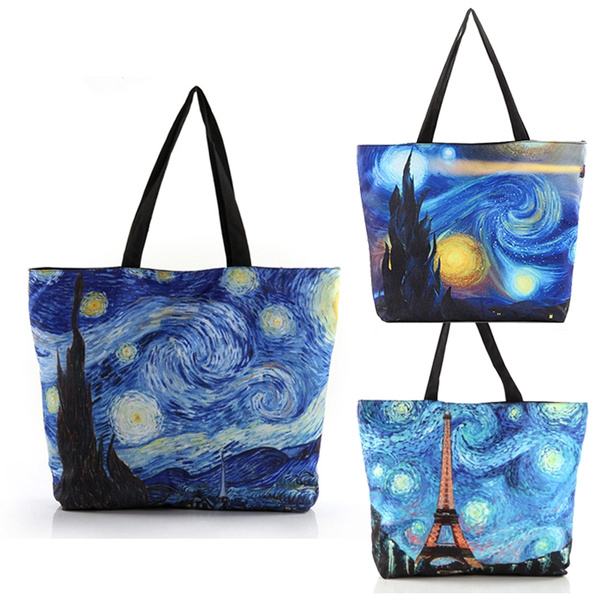 Picture of Fashion Women's Van Gogh Painting Starry Sky Pattern Canvas Bags Casual Zipper Shoulder Bags