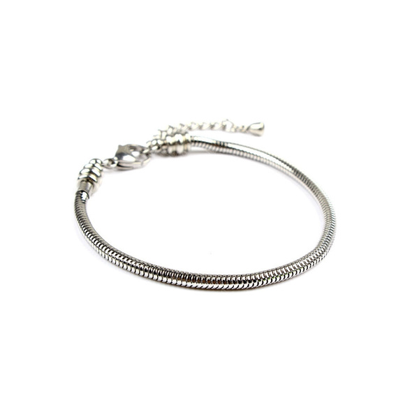 39e233256 Jewels Stainless Steel Snake Chain Starter Charm Bracelet With ...