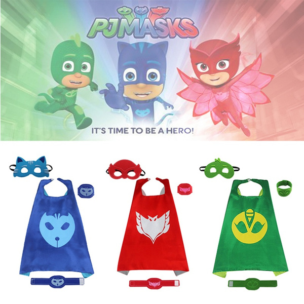 Superhero Child's PJ Masks Costumes Cape and Masks Set Cosplay Kids Costume for Party