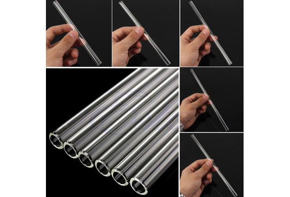 6-12inch Reusable Thick Straws Wedding Birthday Party Clear Glass Drinking Straws DEN