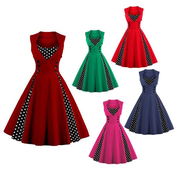bdc37eaf0de 2017 Women Fashion Robe Pin Up Dress Retro Vintage 50s 60s ...