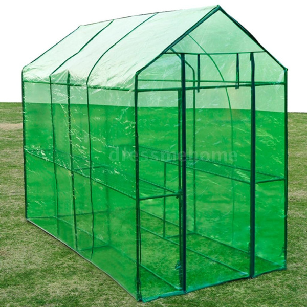 New Portable Patio Greenhouse Steel Frame Tear Resistant Cover 2 Shelf  Garden Outdoor Green House