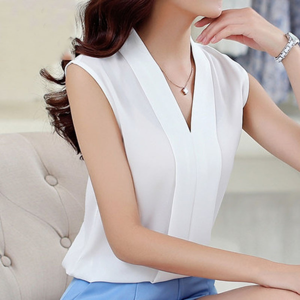Women's Colourful V Neck Summer Chiffon Blouses Shirt
