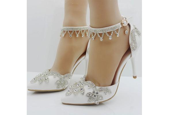 Women Sweet White Rhinestone High Heels Bridal Wedding Shoes Party High Heels Shoes