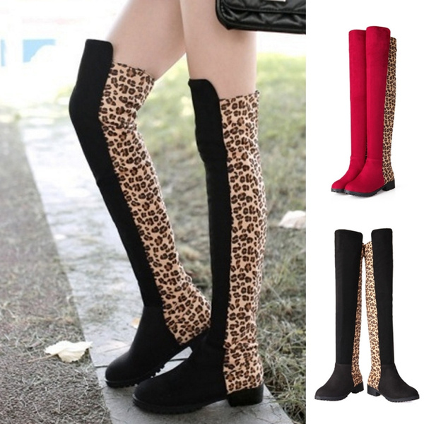 where to buy cozy fresh the latest Autumn Winter Fashion Women Boots Over Knee Leopard Print Suede ...