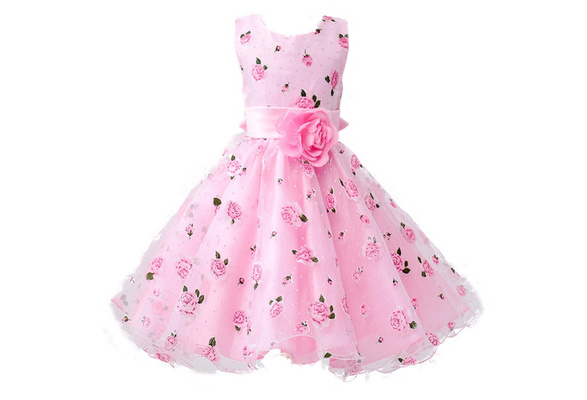 New Girls Cotton Sleeveless Princess Dress with Flower for Children Clothes Kids Wedding Party Birthday Dresses Flowers Can Be Disassembled