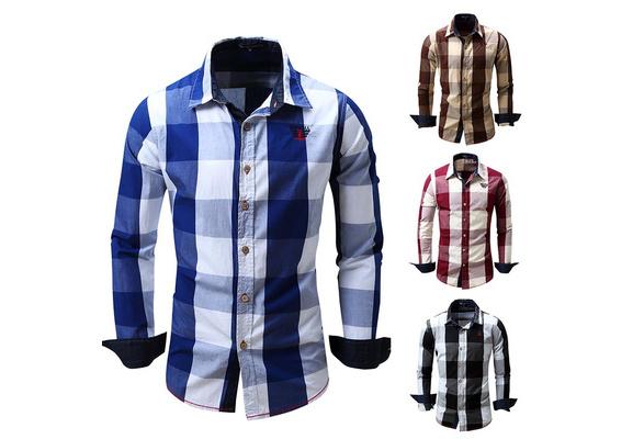 2017 New Fashion Men's Casual Shirt / Cotton Yarn Dyed Plaid Cowboy Shirt