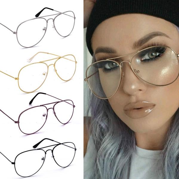 Picture of Fashion Retro Eyeglasses Classic Metal Aviator Clear Lens Glasses Unisex Men Women Fashion Eyewear Sunglasses