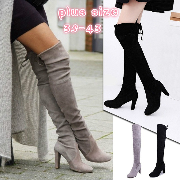 Picture of Brand New Women's Over Knee High Boot Lace Up High Heel Long Thigh Boots Shoes