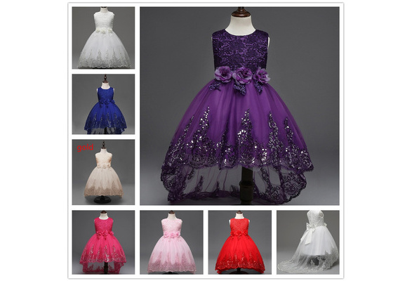 Hot Sale Girl Wedding Party Princess Dress(size:1 to 11 years old color:white,red,purple)