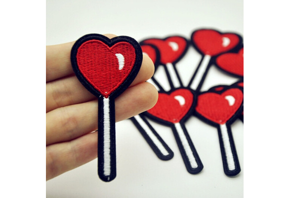 2 Pcs Heart Lollipop Patch for Clothing Iron on Embroidered DIY Apparel Accessories
