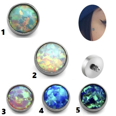 1pcs Opal Stone Micro Skin Diver Dermal 100 Titanium Piercing Top Dermal Anchor Piercing Body Jewelry Attachments Jewelled Disc