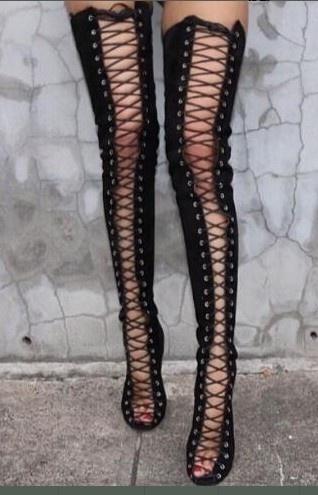 Wish | Sexy Black High Heels Gladiator Shoes Woman Peep Toe Lace ...