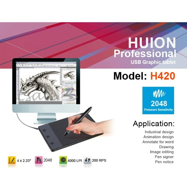 Huion H420 USB Drawing Writing Art Graphics Board Tablet 4x2.3inch Digital Pen