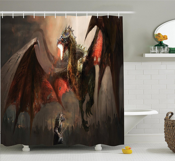 Dragon Decor Collection Meval Knight Fighting Against The Fearful Spits Fire Fiction Monster Themed Polyester Fabric Bathroom Shower