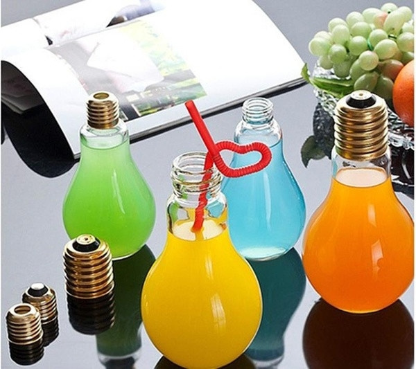 Picture of Creative Transparent Fruit Juice Water Cup Gifts Bulb Bottle Drinking Jar With Straw