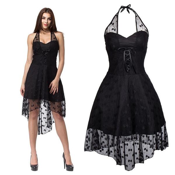 Vintage Black Lace Halter Polka Dot Dress Burlesuqe Steampunk Dress  Bustiers Top Plus Size Gothic Dress