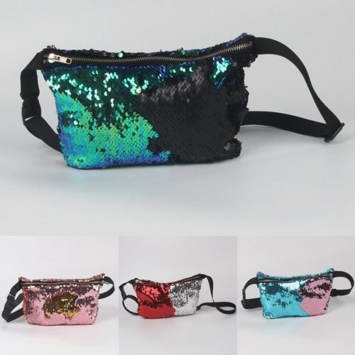 Picture of Reversible Mermaid Sequin Glitter Waist Fanny Pack Belt Bum Bag Pouch Hip Purse