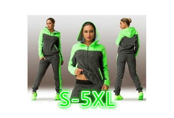 2017 Sports Leisure Suit Women Long Sleeve Two Piece Set  Hooded Sweatshirt Suits Cotton Tracksuits Sweatpants