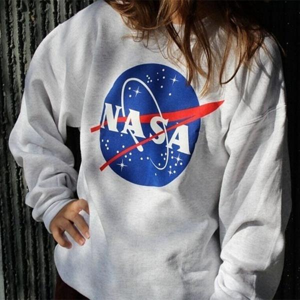 Women Fashion Ladies Nasa Printed Long Sleeved Sweatshirt Womens Off Shoulder Jumper Tops Loose Shirt by Wish