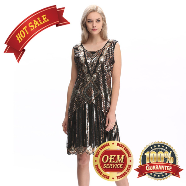 20s 1920s Flapper Dress Gatsby Charleston Fringe Sequin Dress Plus Size 16  18 20