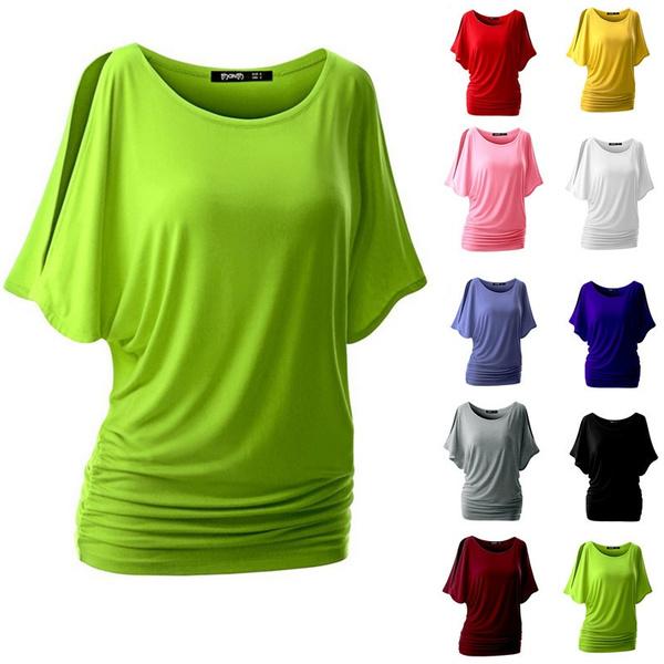 d025539eae1341 10 Colors Summer Women Bat Sleeve T-shirt Loose Solid Color Round ...