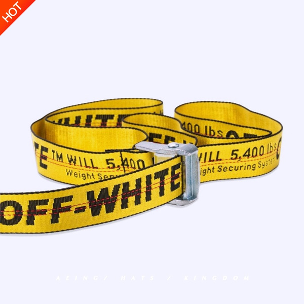 vasta selezione di 57b1c 82edd Off White Belts Men Women C/O Virgil Abloh Yellow Logo Letters Embroidery  Cut Me Off High Street Hip Hop Skateboard Kanye Belts