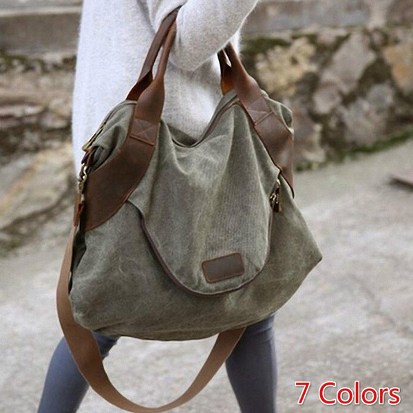 964b54fdb468 Casual Women's Handbag Shoulder Cross Body Handbags Canvas Leather Large  Capacity Bags