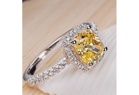 (Size US 4 ~ 13 ) Wedding Birthstone Bride Engagement Clear/Yellow/Pink Diamond Ring 925 Sterling Silver Ring Gifts