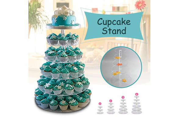 3/4/5/6 Tier Clear Transparent and White Acrylic Round Cup Cake Cupcake Stand Supplies Display Tower Wedding Birthday Party Decoration