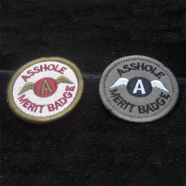 Military 6.3CM Cavalryman Asshole Merit Badge Round Embroidered Velcro Patch Armband Morale Tactical Patch