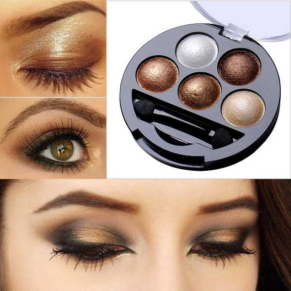 Picture of 5 Colors Pigment Eyeshadow Palette Eye Shadow Powder Metallic Shimmer Makeup Beauty Profissional Make Up Warm Color Waterproof