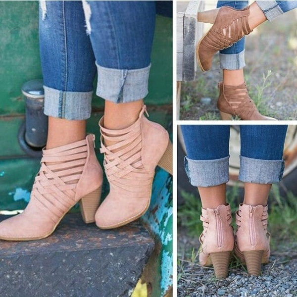 Picture of New Women Boots Square Heels Strappy Ankle Booties
