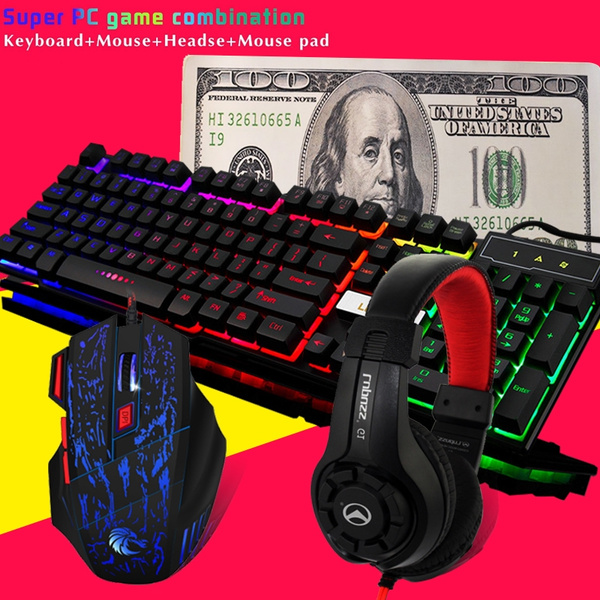 Super PC game combination Keyboard + mouse + gaming headphones Rainbow  backlight Cracked mouse