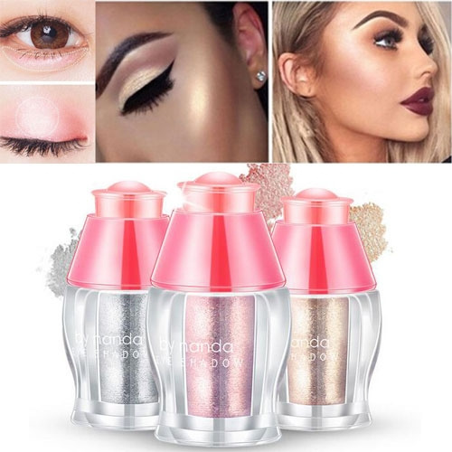 Picture of 2 In 1 Smooth Loose Powder With Brush Highlighter Glitter Gold Silver Eyeshadow Contour Palette Face Makeup