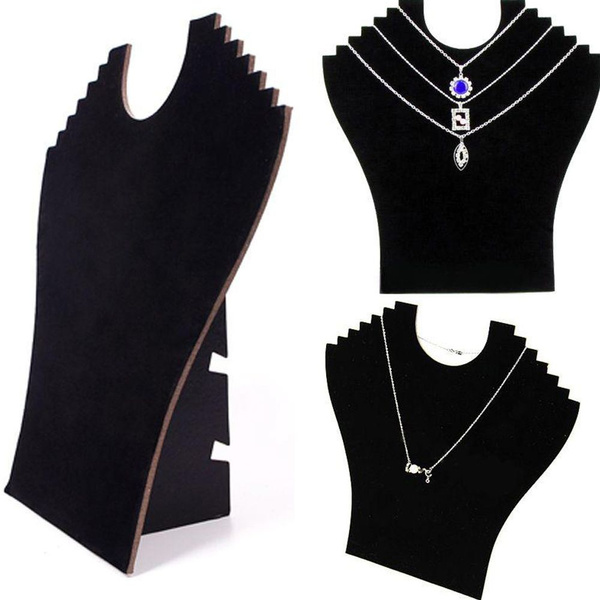 Picture of Fashion Easel Black Necklace Bust Stand Neck Jewelry Pendant Chain Velvet Display Holder