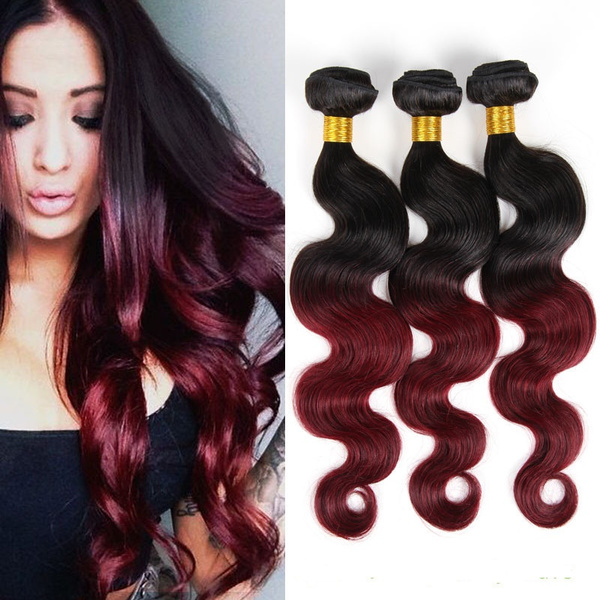 Geek E Beauty Two Tone Black To Maroon Ombre Hair Extensions