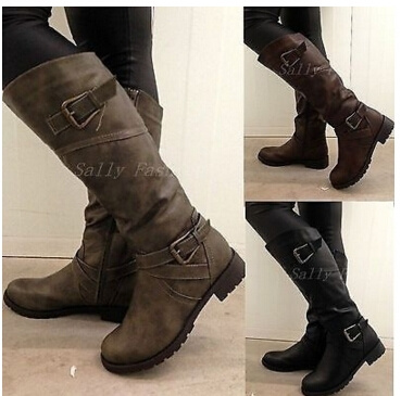 Picture of Women Round Toe Mid Calf Boots Female Matte Leather Knight Boot Woman Buckle Square Low Heel Shoes Heeled Footwear