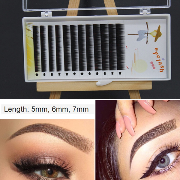Picture of 0.10 Mm J Curl Individual Mix Color False Mink Eyebrow Extensions Permanent Eye Brow