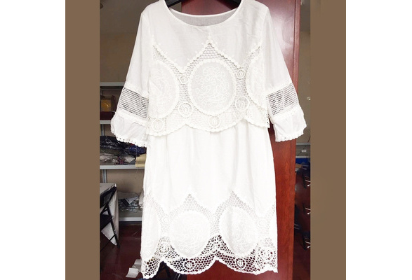 Fashion White Plain Embroidery Hollow-out Round Neck Boho Crochet Midi Dress Plus Size