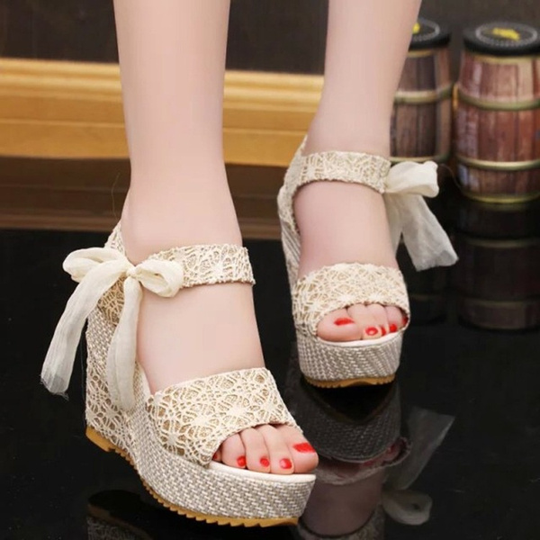 Picture of Womens Candy High Heel Wedge Platform Shoes Sandals Bowknot Ankle Lace Shoes