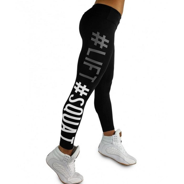 Women Sport Yoga Running Leggings Letters Print Fitness Long Pants Trousers