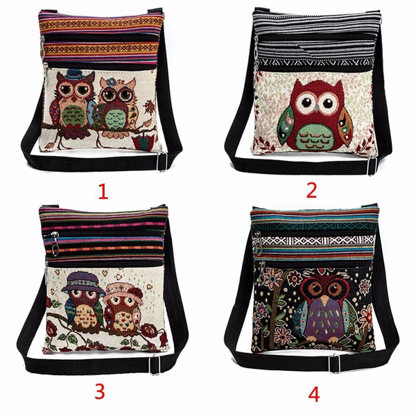 Picture of Women Shoulder Bags Embroidered Owl Pattern Postman Package Tote Handbags
