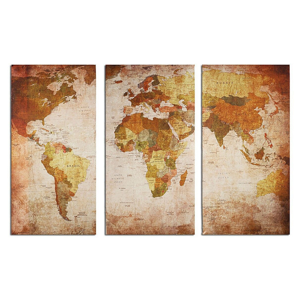 Wish fashion 3pcs unframed vintage style world map modern wall oil wish fashion 3pcs unframed vintage style world map modern wall oil painting canvas print home decor size135x90cm gumiabroncs Gallery