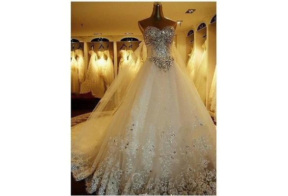New Sexy Lace Elegant Modest Sweetheart Noble Long Train White/Ivory Backless Cap Shoulder Wedding Dress Prom / Evening Dress Bridal Gown Velos De Novia