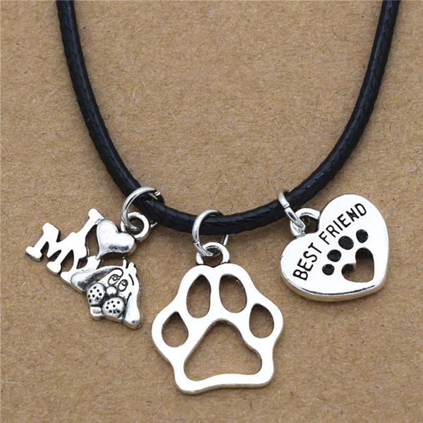 Dog Necklace Footprints Necklace Love Pet Friend Antique Silver Charm