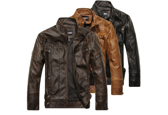 Size XS-3XL Fashion Men 's High Quality Motorcycle Jacket Color black brown & khaki