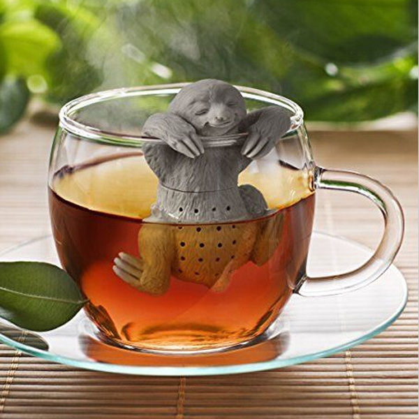 Picture of Cute Sloth Tea Leaf Strainer Filter Silicon Herbal Spice Infuser Diffuser Color Grey